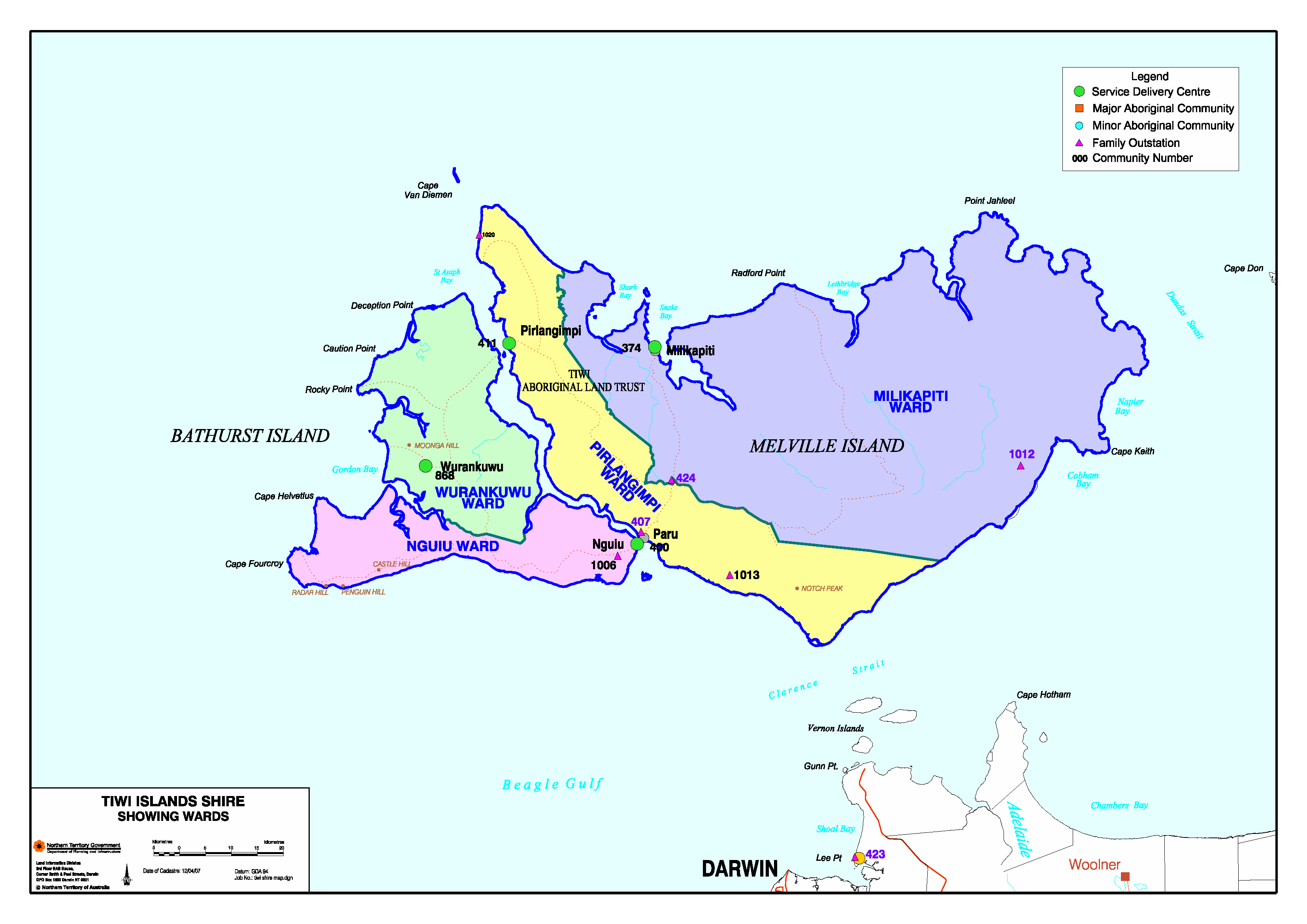 Map of Tiwi Islands Regional Council showing electoral wards
